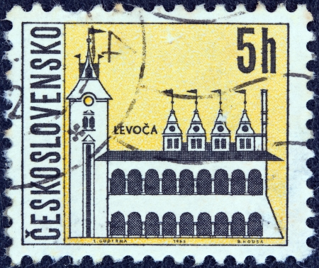 CZECHOSLOVAKIA - CIRCA 1965: A stamp printed in Czechoslovakia from the Czechoslovakian Towns issue shows the old town hall, Levoca, circa 1965.