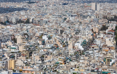 Dense residential area in Athens, Greece photo