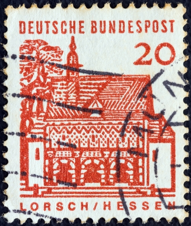 bundes: GERMANY - CIRCA 1964: A stamp printed in Germany from the Twelve Centuries of German Architecture issue shows Monastery Gate, Lorsch, circa 1964.