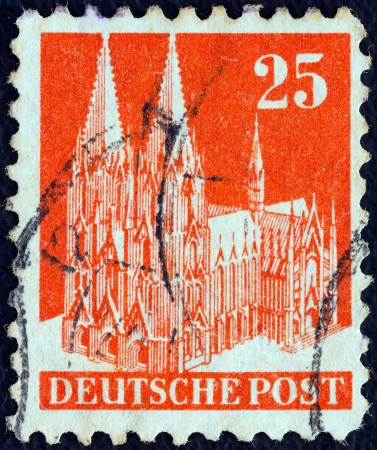 allied: ALLIED OCCUPATION IN GERMANY - CIRCA 1948: A stamp printed in Germany shows Cologne Cathedral, circa 1948.