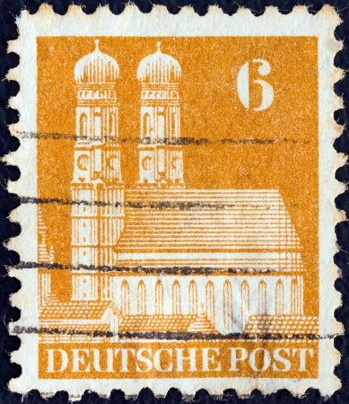 allied: ALLIED OCCUPATION IN GERMANY - CIRCA 1948: A stamp printed in Germany shows Frauenkirche, Munich, circa 1948.