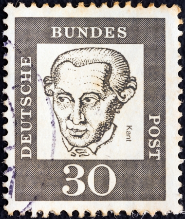 bundespost: GERMANY - CIRCA 1961: A stamp printed in Germany from the Famous Germans issue shows German philosopher Immanuel Kant, circa 1961.