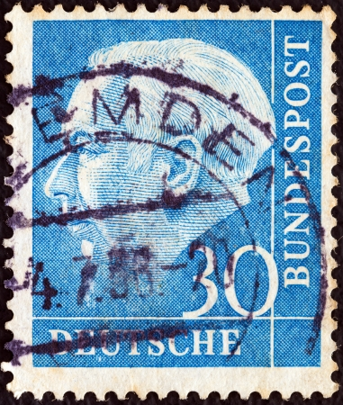 theodor: GERMANY - CIRCA 1953: A stamp printed in Germany shows the first President of the Federal Republic of Germany Theodor Heuss, circa 1953.  Editorial