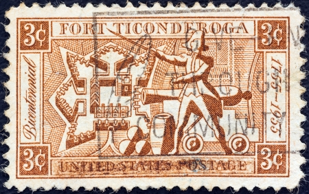 ethan: USA - CIRCA 1955: A stamp printed in USA issued for the bicentenary of Fort Ticonderoga shows plan of Fort, Ethan Allen and Artillery, circa 1955.