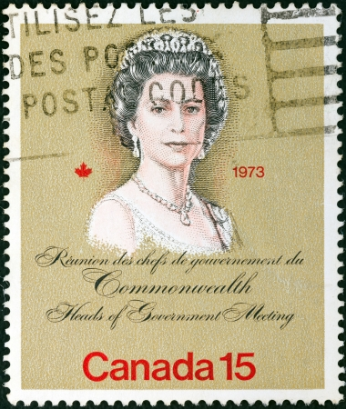 CANADA - CIRCA 1973: A stamp printed in Canada issued for the Royal Visit and Commonwealth Heads of Government Meeting, Ottawa shows Queen Elizabeth II, circa 1973.  Editorial