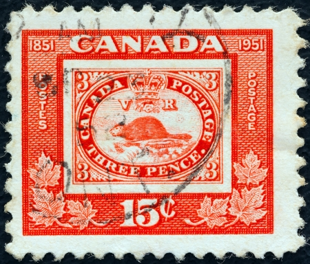estampilla: CANADA - CIRCA 1951: A stamp printed in Canada issued for the centenary of First Canadian Postage Stamp shows reproduction of first Canadian stamp of 1851 (beaver), circa 1951.