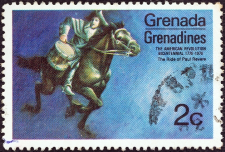 revere: GRENADINES OF GRENADA - CIRCA 1975: A stamp printed in Grenada from the Bicentenary of American Revolution (1976) 1st issue shows Paul Reveres ride, circa 1975.