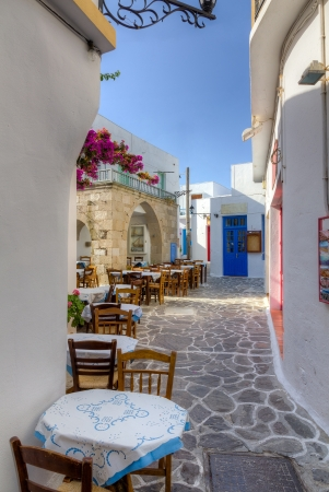 Beautiful alley in Plaka village, Milos island, Cyclades, Greece