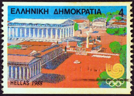 ancient olympic games: GREECE - CIRCA 1988: A stamp printed in Greece from the Olympic Games, Seoul issue shows Ancient Olympia, circa 1988.