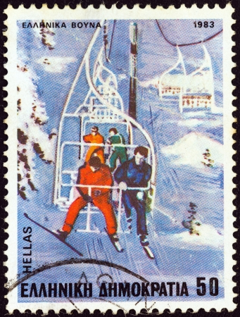 GREECE - CIRCA 1983: A stamp printed in Greece from the Sports issue shows Ski lift, circa 1983.