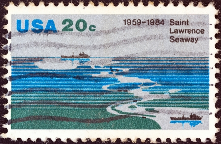 seaway: USA - CIRCA 1984: A stamp printed in USA from the issued for the 25th anniversary of Saint Lawrence Seaway shows Saint Lawrence Seaway, circa 1984.  Editorial