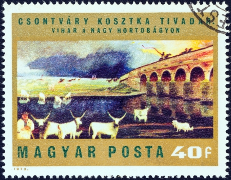 magyar posta: HUNGARY - CIRCA 1973: A stamp printed in Hungary from the Paintings by Csontvary Kosztka issue shows Storm over Hortobagy Puszta, circa 1973.