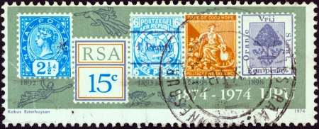 afrika: SOUTH AFRICA - CIRCA 1974: A stamp printed in South Africa issued for the centenary of Universal Postal Union shows five older stamps, circa 1974.