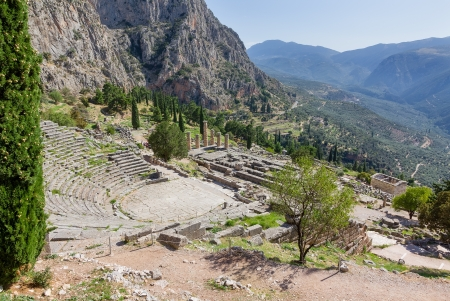 ancient greek: Ancient Delphi theater and Apollo temple, Greece