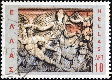 GREECE - CIRCA 1968: A stamp printed in Greece from the Hellenic Fight for Civilization Exhibition, Athens issue shows Athena defeats Alkyoneus (from frieze, Altar of Zeus, Pergamon), circa 1968.