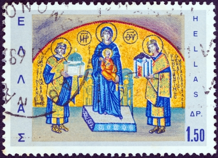 justinian: GREECE - CIRCA 1968: A stamp printed in Greece shows Byzantine Emperors Constantine and Justinian making offerings to the Holy Mother (Byzantine mosaic), circa 1968.