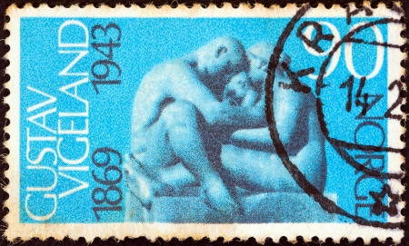 centenary: NORWAY - CIRCA 1969: A stamp printed in Norway issued for the Birth Centenary of Gustav Vigeland (sculptor) shows Family (sculpture), circa 1969.