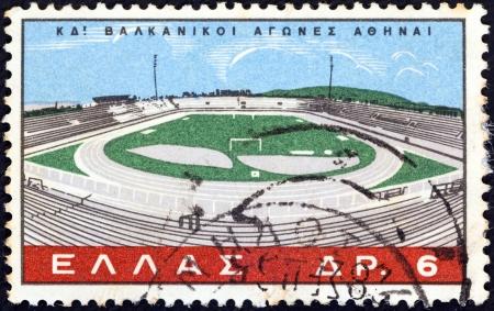 estampilla: GREECE - CIRCA 1965: A stamp printed in Greece issued for the 24th Balkan Games, Athens shows Karaiskakis Stadium, Athens, circa 1965.