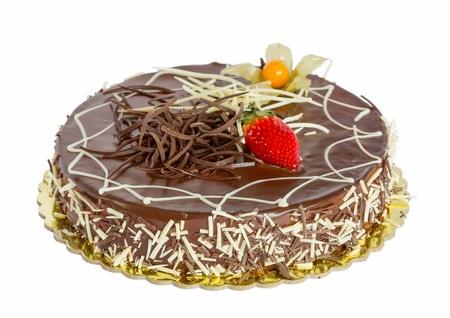 케이크: 고립 된 초콜릿 케이크