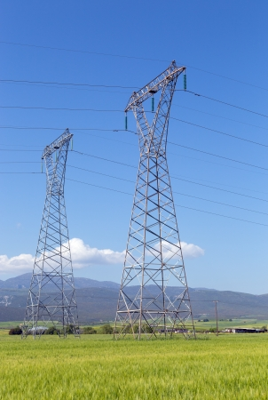 High voltage electricity pylons in rural landscape photo
