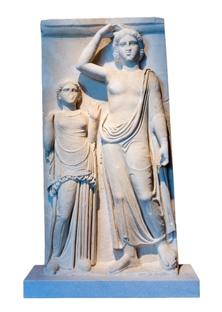 stele: Greek marble votive stele with a representation of Apollo and the dedicator  Temple of Apollo, Amphanae, 4th century BC