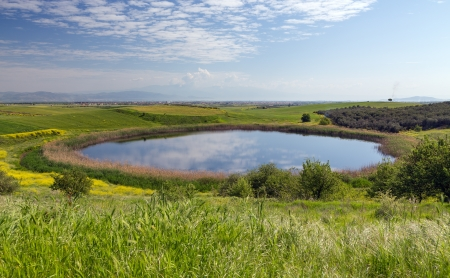 thessaly: Beautiful pond in spring, Thessaly, Greece Stock Photo