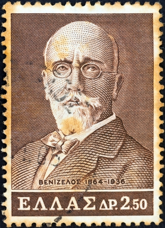 sello: GREECE - CIRCA 1965: A stamp printed in Greece issued for the birth centenary of Eleftherios Venizelos (statesman) shows Eleftherios Venizelos, circa 1965.