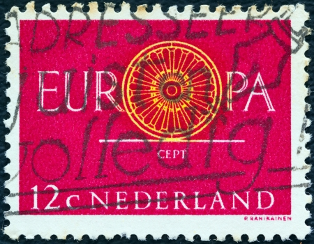 nederlan: NETHERLANDS - CIRCA 1960: A stamp printed in the Netherlands from the Europa issue shows Conference Emblem, circa 1960.  Editorial
