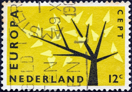 nederlan: NETHERLANDS - CIRCA 1962: A stamp printed in the Netherlands from the Europa issue shows Europa Tree, circa 1962.