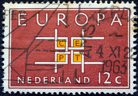 orange nassau: NETHERLANDS - CIRCA 1963: A stamp printed in the Netherlands from the Europa issue shows Co-operation, circa 1963.  Editorial