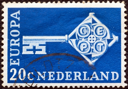 orange nassau: NETHERLANDS - CIRCA 1968: A stamp printed in the Netherlands from the Europa issue shows Europa Key, circa 1968.