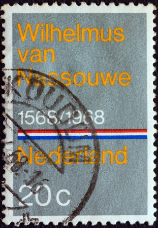 sello: NETHERLANDS - CIRCA 1968: A stamp printed in the Netherlands issued for the 400th anniversary of Dutch National Anthem shows Wilhelmus van Nassouwe, circa 1968.