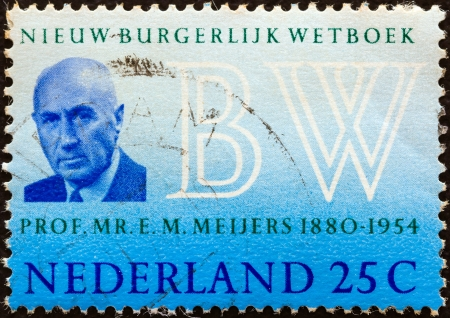 orange nassau: NETHERLANDS - CIRCA 1970: A stamp printed in the Netherlands issued for the introduction of New Netherlands Civil Code shows Professor Eduard M. Meijers (author of Burgerlijk Wetboek), circa 1970.