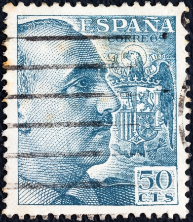 SPAIN - CIRCA 1939: A stamp printed in Spain shows General Francisco Franco, circa 1939.  Editorial