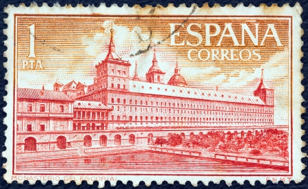 SPAIN - CIRCA 1961: A stamp printed in Spain shows Escorial Monastery, Monks Garden, circa 1961.