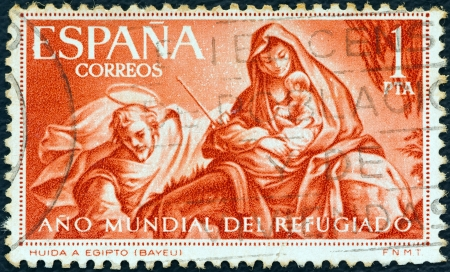 SPAIN - CIRCA 1961: A stamp printed in Spain from the World Refugee Year issue shows The Flight to Egypt (after Bayeu), circa 1961.  Editorial