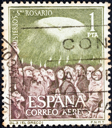 SPAIN - CIRCA 1962: A stamp printed in Spain from the Mysteries of the Rosary issue shows The Sending-forth of the Holy Ghost (El Greco), circa 1962.