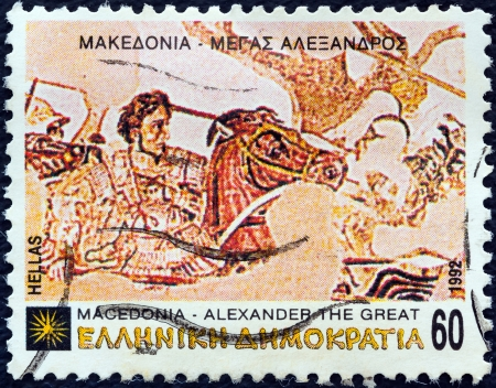 GREECE - CIRCA 1992: A stamp printed in Greece from the 'Macedonia' issue shows Alexander the Great at the battle of Issus from Alexander mosaic, Naples National Archaeological Museum, circa 1992.