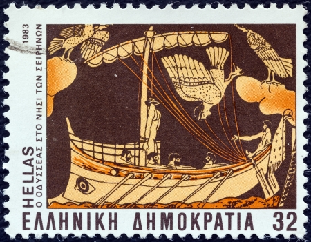 sirens: GREECE - CIRCA 1983: A stamp printed in Greece from the Homeric epics issue shows Odysseus and Sirens, circa 1983.