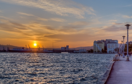 thessaly: City of Volos waterfront at sunset, Thessaly, Greece