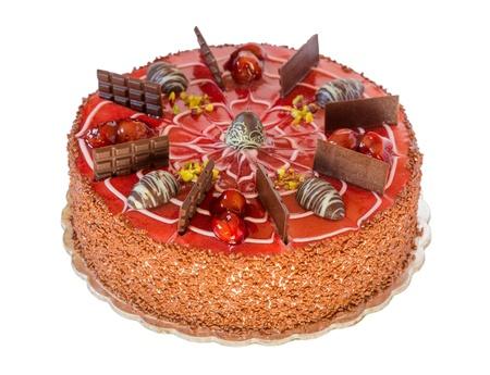 白い背景で隔離のチェリーとチョコレート ケーキ 写真素材