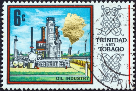 TRINIDAD AND TOBAGO - CIRCA 1969: A stamp printed in Trinidad and Tobago shows an Oil refinery, circa 1969.