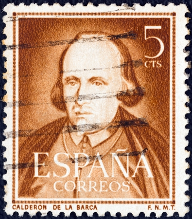 stempeln: SPAIN - CIRCA 1951: A stamp printed in Spain shows dramatist, poet and writer Pedro Calderon de la Barca, circa 1951.