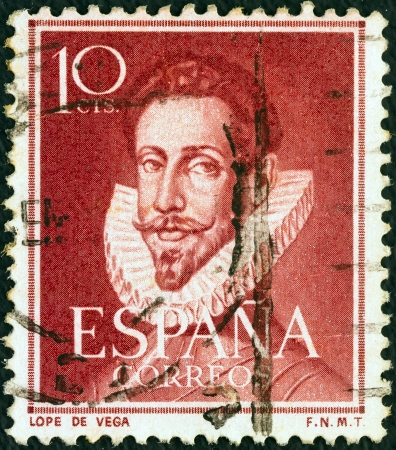 SPAIN - CIRCA 1951: A stamp printed in Spain shows Spanish playwright and poet Lope de Vega (1562-1635), circa 1951.