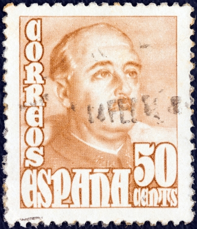 SPAIN - CIRCA 1948: A stamp printed in Spain shows a portrait of Francisco Franco, circa 1948.