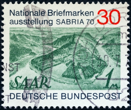 bundes: GERMANY - CIRCA 1970: A stamp printed in Germany issued for the Sabria 70 stamp exhibition, Saarbrucken shows Saar stamp of 1947, circa 1970.