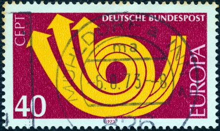 posthorn: GERMANY - CIRCA 1973: A stamp printed in Germany from the Europa issue shows Europa posthorn, circa 1973.