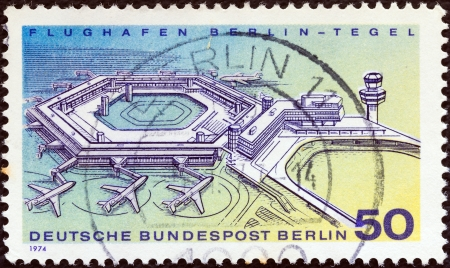 stempeln: GERMANY - CIRCA 1974: A stamp printed in Germany shows Berlin-Tegel Airport, circa 1974.