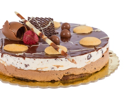 Chocolate ice cream cake with biscuits isolated photo