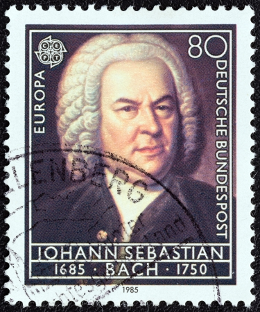 bundespost: GERMANY - CIRCA 1985: A stamp printed in Germany from the Europa. Composers 300th Birth Anniversaries issue shows Johann Sebastian Bach, circa 1985.